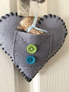 Grey Felt heart boyfriend gift Valentines day by AlexArtDreams