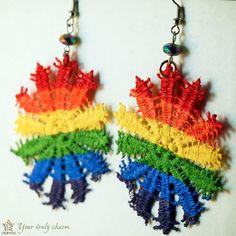 Rainbow snowflake lace earrings with colorful beads by OrientalColour, $9.10