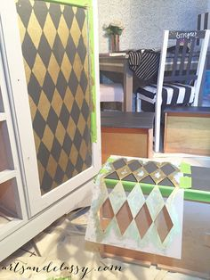 DIY Harlequin Dresser & Furniture Makeover using Classic Harlequin & Diamond Pattern Furniture Stencils from Royal Design Studio