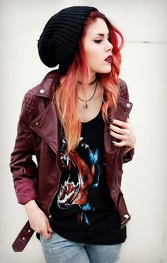grunge style..love her hair too -- tank jacket jeans beanie ... Boots