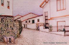 Dibujo de una fuente ya desaparecida en la bifurcación de las calles Caridad y Ribera (ref. Z00287)