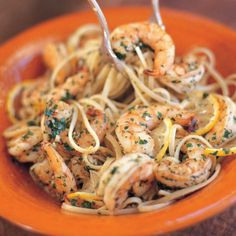 *****Linguine with Shrimp Scampi - Barefoot Contessa Per Maria, use angel hair or thinner pasta and don't overcook the shrimp