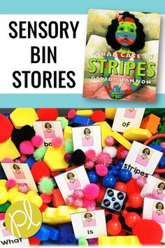 A Bad Case of Stripes - add these literacy and math task cards to a sensory bin to create a hands-on learning center. Explore story vocabulary, mentor sentences, sight words, and more with these low-prep materials. Suggestions for setting up your bin using common classroom materials are included, as well as sorting mats and character cut-outs. #badcaseofstripes #readalouds
