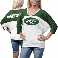 Nike New York Jets Ladies Football Style Three-Quarter Sleeve T-Shirt - White/Green