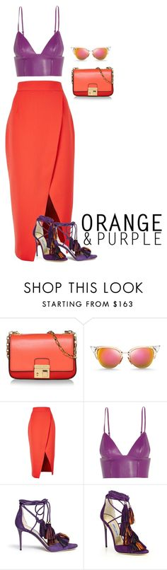 """Orange & Purple"" by fra3 ❤ liked on Polyvore featuring Michael Kors, Fendi, C/MEO COLLECTIVE, T By Alexander Wang and Jimmy Choo"