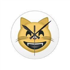 Grinning Cat Face With Smiling Eyes Emoji Round Wallclocks