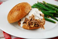 Pulled Pork Sandwich with White BBQ Sauce - 9 Points +