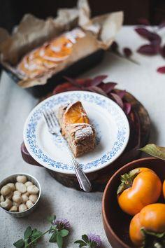kaki gesund, kuchen mit persimonen und nüssen, nachtisch