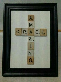 Amazing Grace cross using scrabble pieces