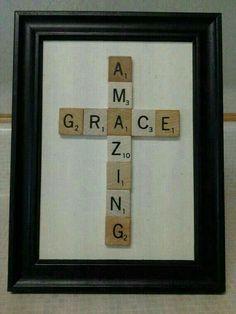 Amazing Grace cross using scrabble pieces