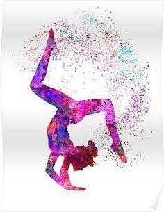'Gymnastics girl, watercolor gymnastics, teen gift' Poster by Rosaliartbook - Gymnastics backgrounds - Gymnastics Quotes, Gymnastics Posters, Gymnastics Videos, Gymnastics Workout, Gymnastics Pictures, Gymnastics Girls, Olympic Gymnastics, Olympic Games, Gymnastics Bedroom