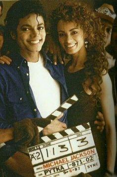 Michael Jackson and Tatiana Thumbtzen on the set of The Way You Make Me Feel