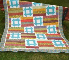 Bed Quilt Single Patchwork with Churn Dash Block by NeedleLove2, $295.00