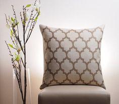 Moroccan Pillow Cover, Cream and Taupe Pillow, Modern Pillow, Trellis Pillow, Quatrefoil, Ivory, Tan, Decorative Throw Pillow