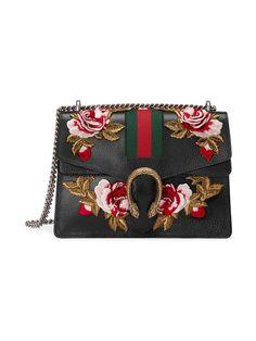 8f9cf0323bc Gucci Black Embroidered Dionysus Leather Shoulder Bag - Farfetch