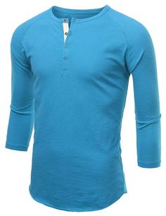 Mens Button Henley Neck Raglan T-Shirt #doublju