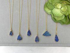 Raw Lapiz Lazuli Necklace 14k Gold Plate Freeform Blue Lapis Lazuli Stone Pendant Boho Jewelry Rough Cut Raw Lapiz Royal Blue Gemstone Charm