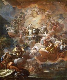 Boceto de España rinde homenaje a la Religión y a la Fe (1759) en el Museo del Prado.