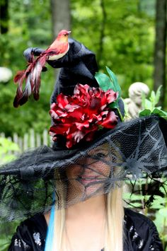 Witch Hat Red Bird by witchesnstitcheshats on Etsy
