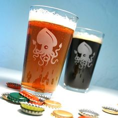 Love these so much, I ink'ed -- 2 Giant Squid Pint Glasses - Release the Kraken by Bread and Badger
