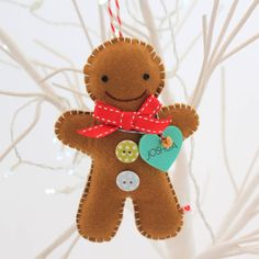 Personalised Gingerbread Man Decoration - The little thins - Event planning, Personal celebration, Hosting occasions Gingerbread Man Decorations, Gingerbread Ornaments, Felt Christmas Decorations, Felt Christmas Ornaments, Christmas Gingerbread, Christmas Fun, Gingerbread Man Crafts, Christmas Projects, Felt Crafts