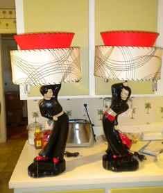 Chalkware figure lamps with repro shades