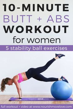 10 minute butt + abs stability ball workout ab workouts effective suggestions and more workout reference 4884119371 most valid six pack workouts to strengthen the robust washboard abs intenseabworkouts Six Pack Abs Workout, Best Ab Workout, Abs Workout Routines, 10 Minute Workout, Abs Workout For Women, Ab Workout At Home, Workout Videos, At Home Workouts, Dumbbell Workout
