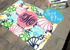 Floor Cloth hand painted in Chiquita bonita print *With monogram - pink and green rug Lily Pullitzer, Painted Floor Cloths, Lilly Pulitzer Prints, Monogram Fonts, Girls Apartment, Small Rugs, Pink And Green, Hand Painted, Monogram