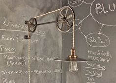 Vintage Industrial Pulley Lamp - The Draftsman - Antique Pulley Light - Drafting Table - Steampunk Lamp - Industrial Lighting - Workshop Industrial Lighting, Vintage Lighting, Cool Lighting, Hallway Lighting, Lampe Steampunk, Bronze Huilé, Pulley Light, Origami Lamp, Wall Mounted Light