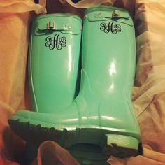 Monogrammed Hunter rain boots