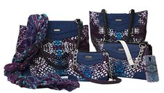 Melinda Collection, Go a little wild with this head-turning design! The Melinda for MICHE bags features demi-gloss custom abstract snake print in shades of purple, blue, white and black. This unique look is brought together beautifully with faux leather trim in deep violet-blue.