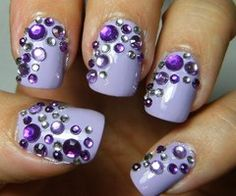 purple glitz nails!  This is so me!!!!