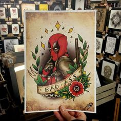 Marvel Deadpool Tattoo Inspired Art Print by UK Artist Tom Hall, available at Stag & Raven, who have the UK's largest collection of Tattoo Art!