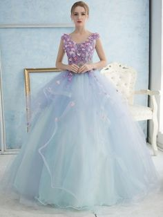 V-Neck Ball Gown Lace Flowers Floor-Length Quinceanera Dress & amazing Quinceanera Dresses