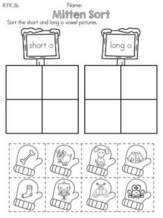 Mitten Sort >> Sorting short and long vowels >> Part of the Kindergarten Common Core Aligned Winter Literacy Worksheets