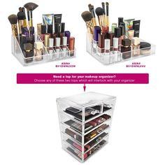 Sorbus Cosmetics Makeup and Jewelry Big Storage Case Display- 4 Large and 2 Small Drawers Space- Saving, Stylish Acrylic Bathroom Case