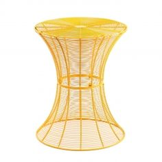Adeco Accent Round Spiral End Side Table, Iron, Yellow