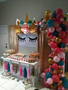 Unicorn dessert table! Glittery unicorn backdrop!