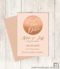 Rose Gold Sparkle Save The Date DIY / Metallic Rose Gold Glitter Circle on…