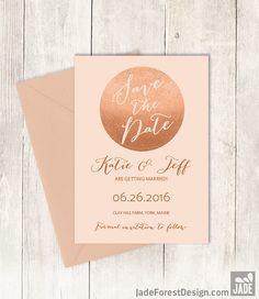 Rose Gold Sparkle Save The Date DIY / Metallic by JadeForestDesign