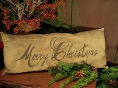 Inspiration Lane, (via Primitive Merry Christmas Pillow)