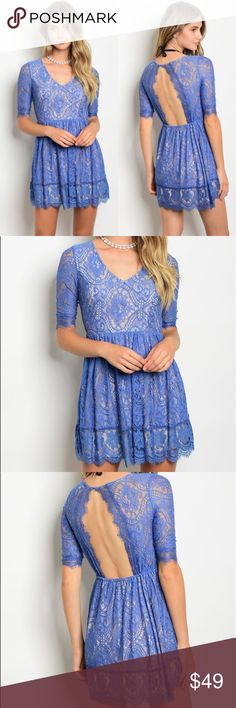 Blue Tan Lace Dress Stunning lace detail  Lined except for the sleeves. 90% nylon 10% Polyester. No trades. Kyoot Klothing Dresses