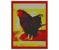 Folk Art Barnyard Rooster Bird Farm Animal Chicken Red Chartreuse Digital Print Kitchen Home Decor Wall Hanging Giclee Print 8 x 10