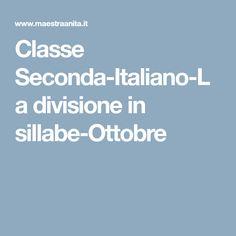 Classe Seconda-Italiano-La divisione in sillabe-Ottobre