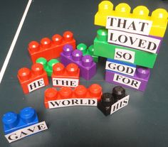 "Cute, different way to do Scripture memory: Use large Legos for kids to learn their Bible verse. Then play ""Take Away"" -- by taking away one block and saying the verse. Continue until no blocks left and the kids are saying the verse by memory. Church Activities, Bible Activities, Educational Activities, Sunday School Lessons, Sunday School Crafts, Sunday School Games, Bible Verse Memorization, Bible Verses, Children's Bible"