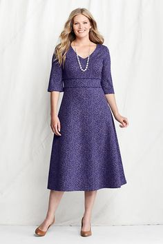Women's Plus Size Elbow Sleeve Pattern Drapey Ponté V-neck Dress from Lands' End - Don't know how well this would work on my waist-less figure, and I don't need a dress right now, but isn't this cute?!