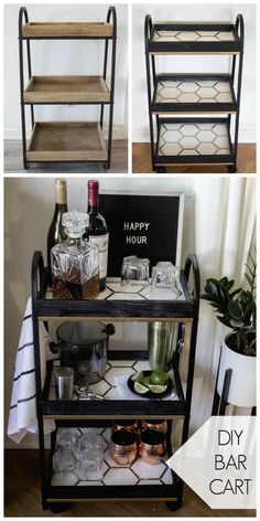 A Stylish DIY Bar Cart This modern bar cart is stunning! It's hard to believe that this is a DIY! Love the tile inlays and the mix of black, white, and gold on this DIY bar cart. Diy Bar Cart, Bar Cart Styling, Bar Cart Decor, Bar Carts, Ikea Bar Cart, Diy Home Decor For Apartments, Diy Casa, Home Bar Decor, Diy Home Bar
