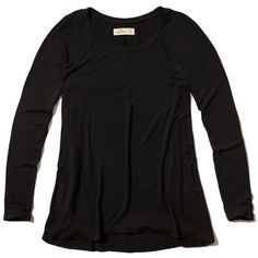 Hollister Must-Have Long Sleeve Easy T-Shirt (£2.41) ❤ liked on Polyvore featuring tops, t-shirts, black, long sleeve tees, longsleeve t shirts, long sleeve t shirts, asymmetrical hem top and long sleeve tops