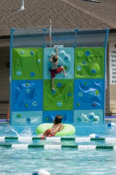 AquaClimb swimming pool rock climbing wall...Totally Awesome Fun for the kids!!  (would need to scale to size for my pool)  WOW!!