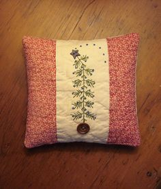 Primitive Very Small Folk Art Christmas Tree Pillow Bowl Filler Doll or Shelf Pillow Quilted Handstitched